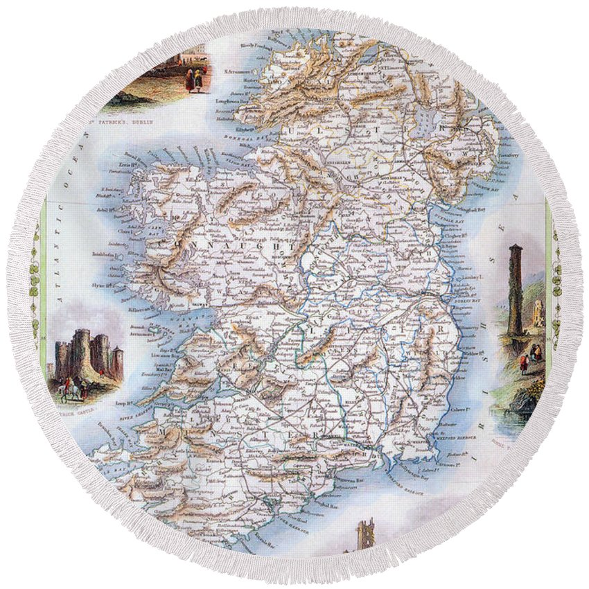 1851 Round Beach Towel featuring the photograph Map: Ireland, 1851 by Granger