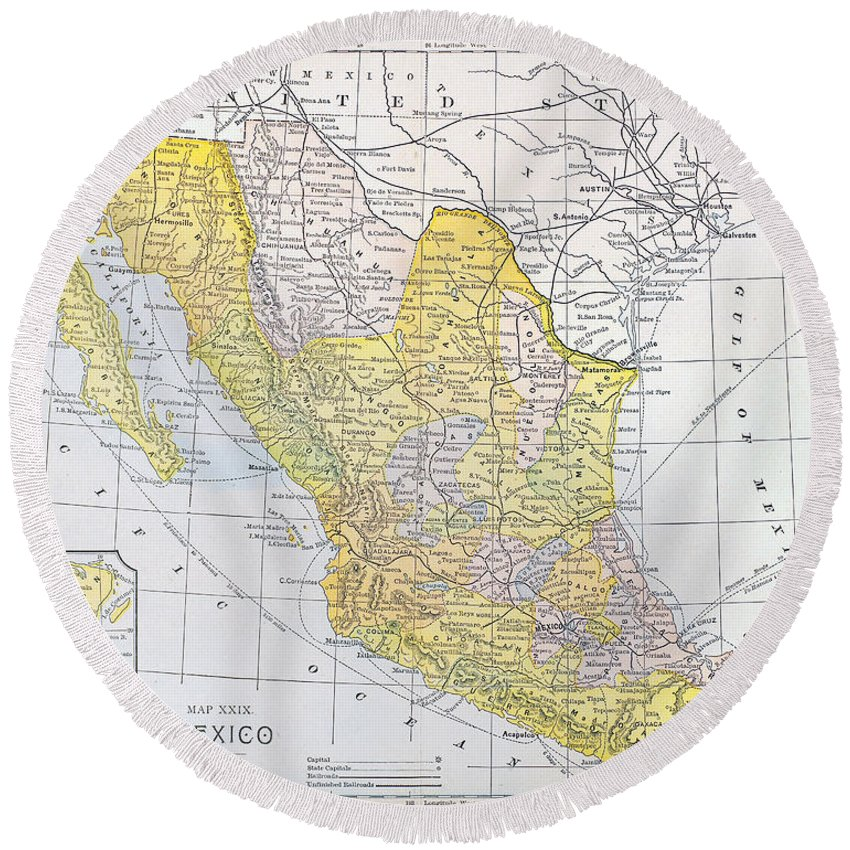 1900 Round Beach Towel featuring the photograph Map: Mexico by Granger