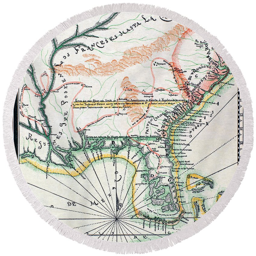 1742 Round Beach Towel featuring the photograph Map: North America, 1742 by Granger
