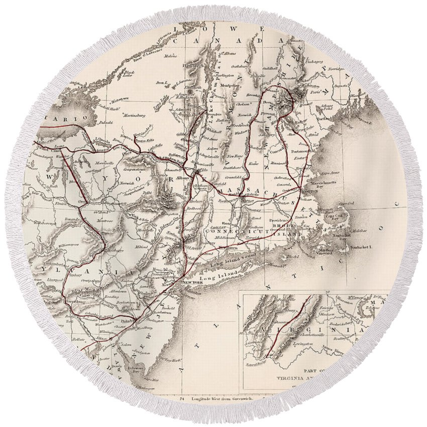 19th Century Round Beach Towel featuring the photograph Map: Northeast U.s.a by Granger
