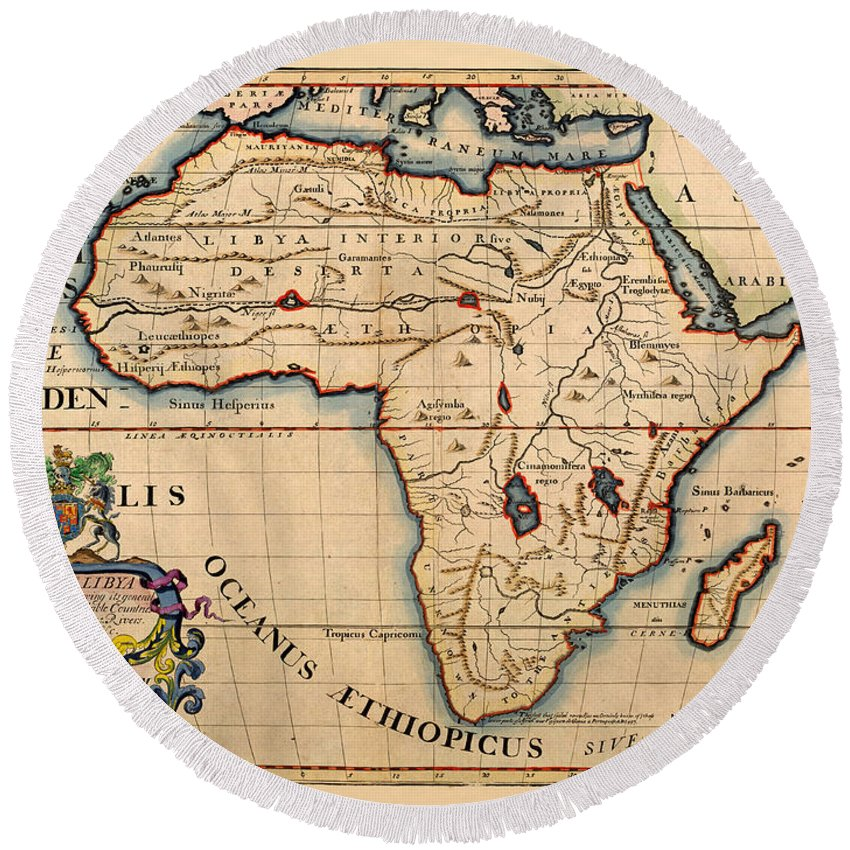 Map Of Africa 1700.Map Of Africa 1700 Round Beach Towel