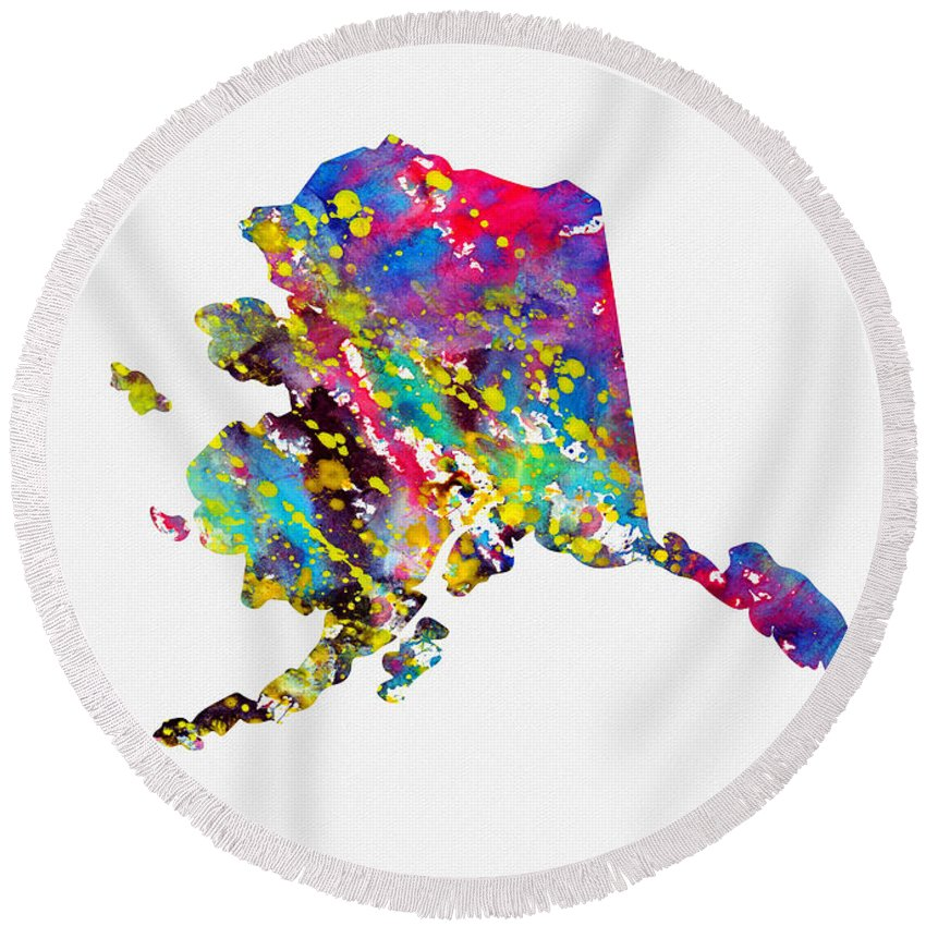 Map Of Alaska Round Beach Towel featuring the digital art Map Of Alaska-colorful by Erzebet S
