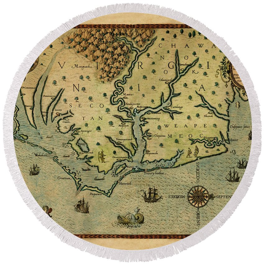 Map Of America Round Beach Towel featuring the photograph Map Of America 1590 by Andrew Fare