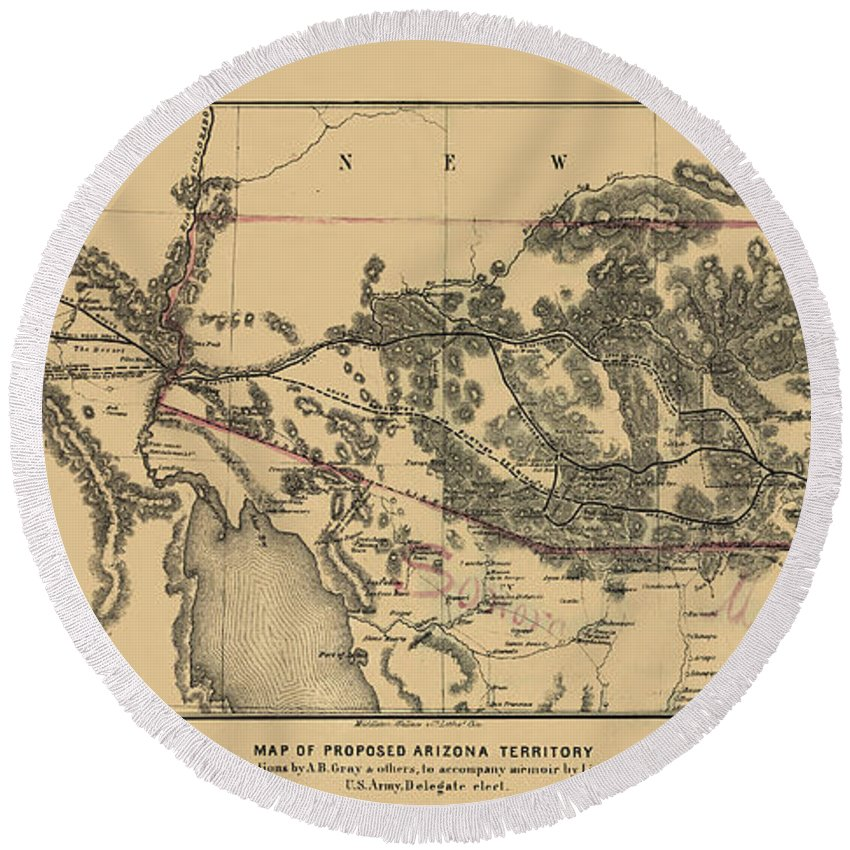 Map Of Arizona Round Beach Towel featuring the photograph Map Of Arizona 1857 by Andrew Fare