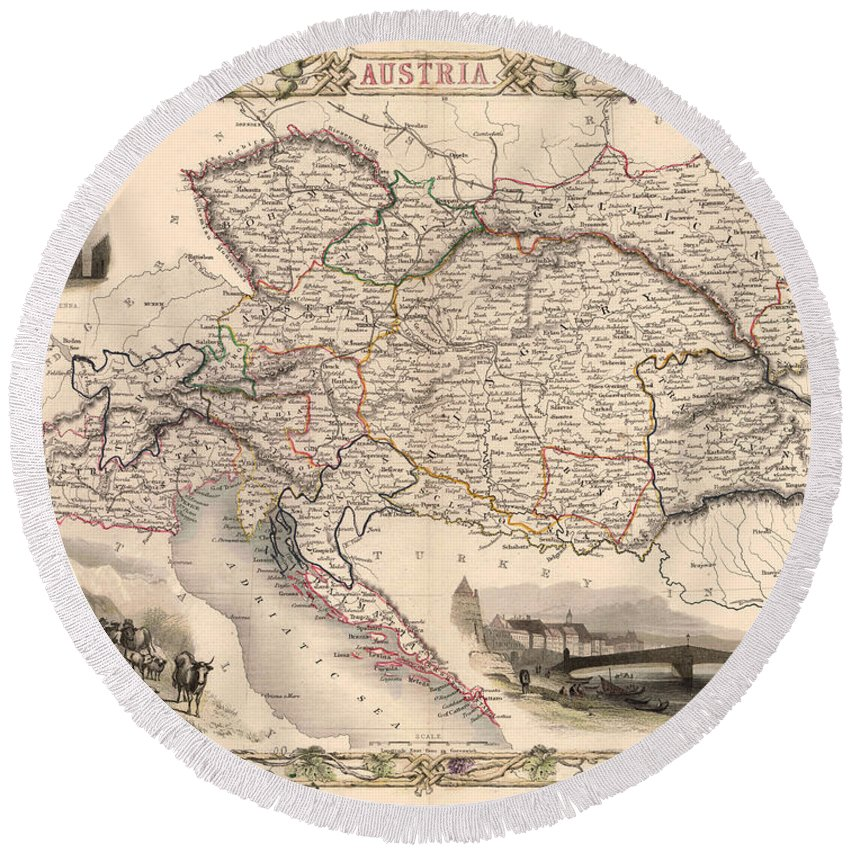 Map Of Austria Round Beach Towel featuring the photograph Map Of Austria 1850 by Andrew Fare