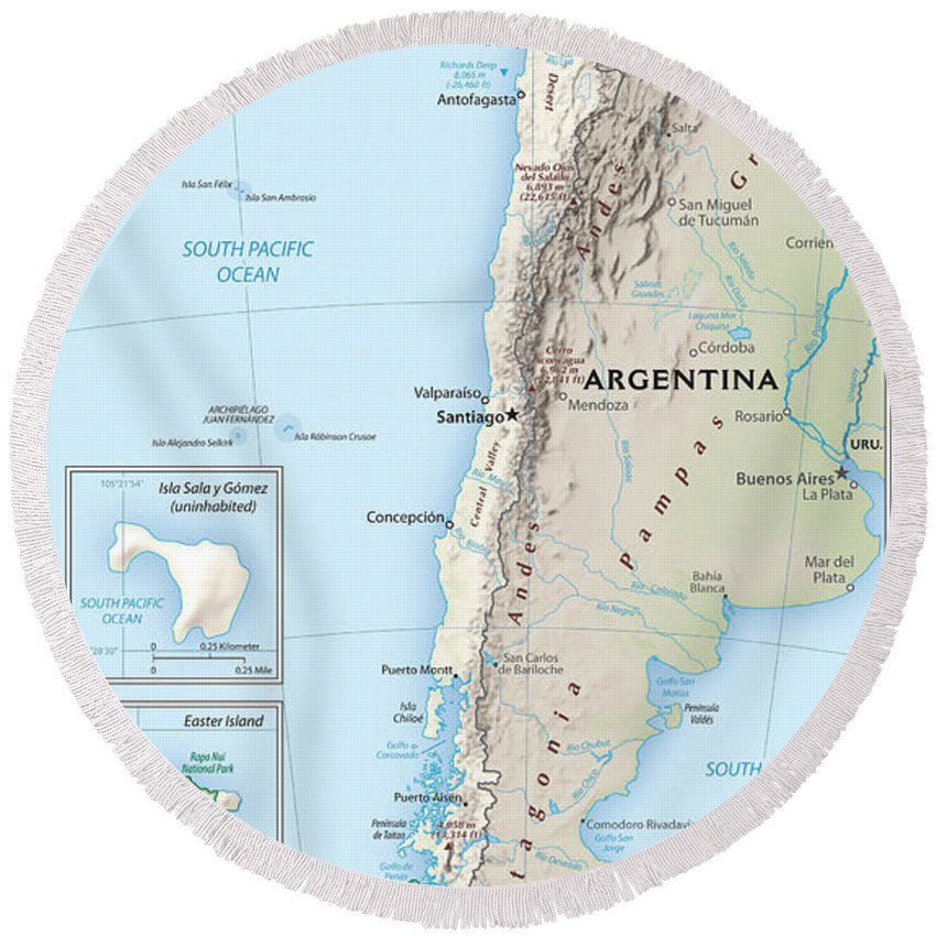 Atlas Round Beach Towel featuring the mixed media Map Of Chile 2 by Roy Pedersen
