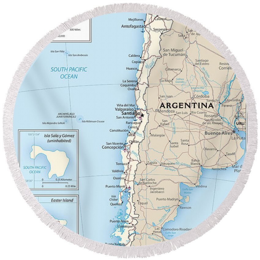 Atlas Round Beach Towel featuring the mixed media Map Of Chile by Roy Pedersen