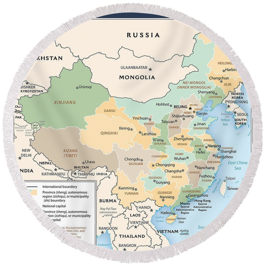 Atlas Round Beach Towel featuring the mixed media Map Of China by Roy Pedersen