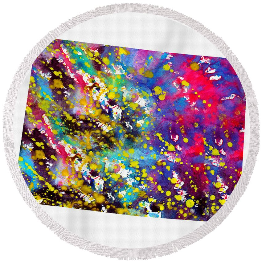 Map Of Colorado Round Beach Towel featuring the digital art Map Of Colorado-colorful by Erzebet S