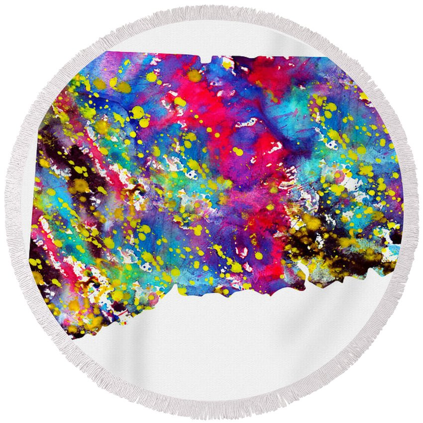 Connecticut Map Round Beach Towel featuring the digital art Map Of Connecticut-colorful by Erzebet S