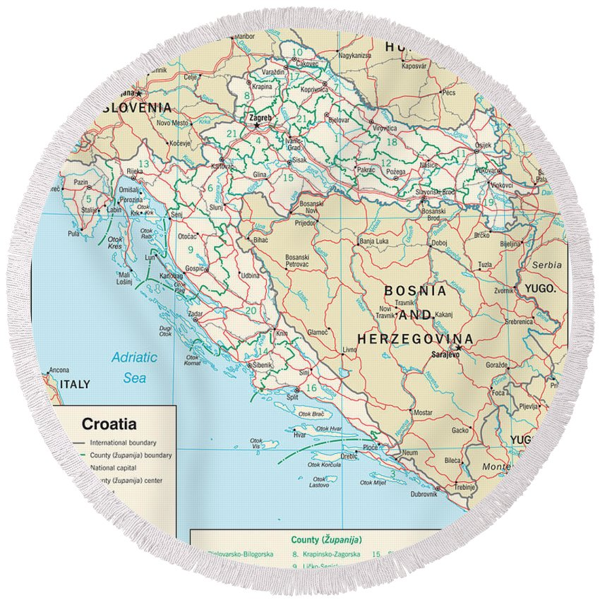 Atlas Round Beach Towel featuring the mixed media Map Of Croatia by Roy Pedersen