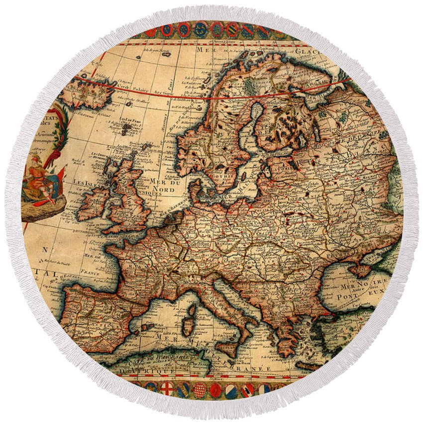 Map Of Europe Round Beach Towel featuring the photograph Map Of Europe 1700 by Andrew Fare