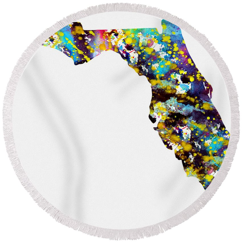 Florida Map Round Beach Towel featuring the digital art Map Of Florida-colorful by Erzebet S