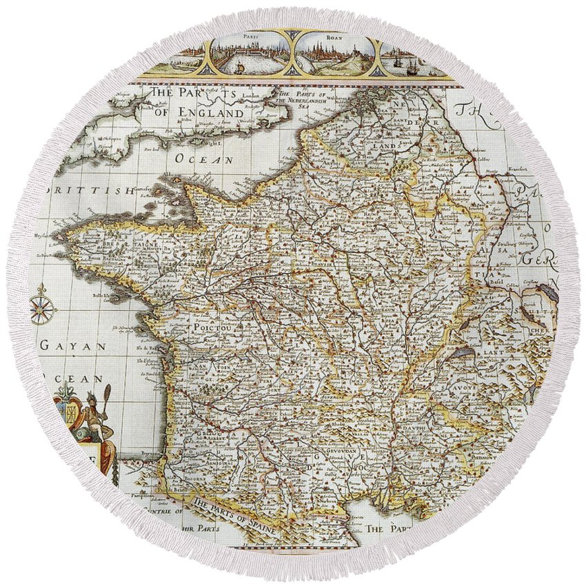 1627 Round Beach Towel featuring the photograph Map Of France, 1627 by Granger