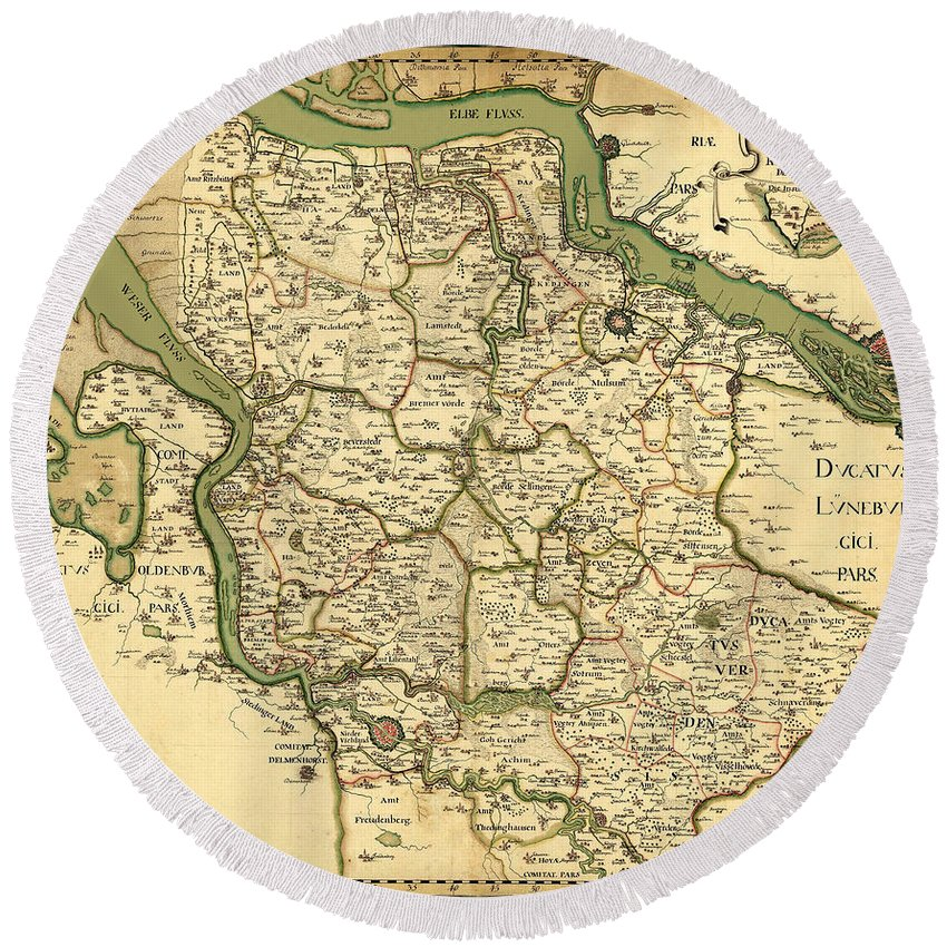 Map Of Germany For Sale.Map Of Germany 1750 Round Beach Towel