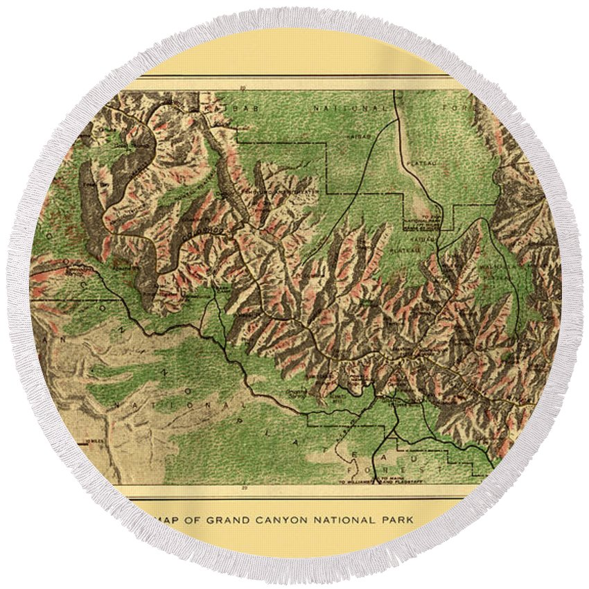 Grand Canyon Round Beach Towel featuring the photograph Map Of Grand Canyon 1926 by Andrew Fare
