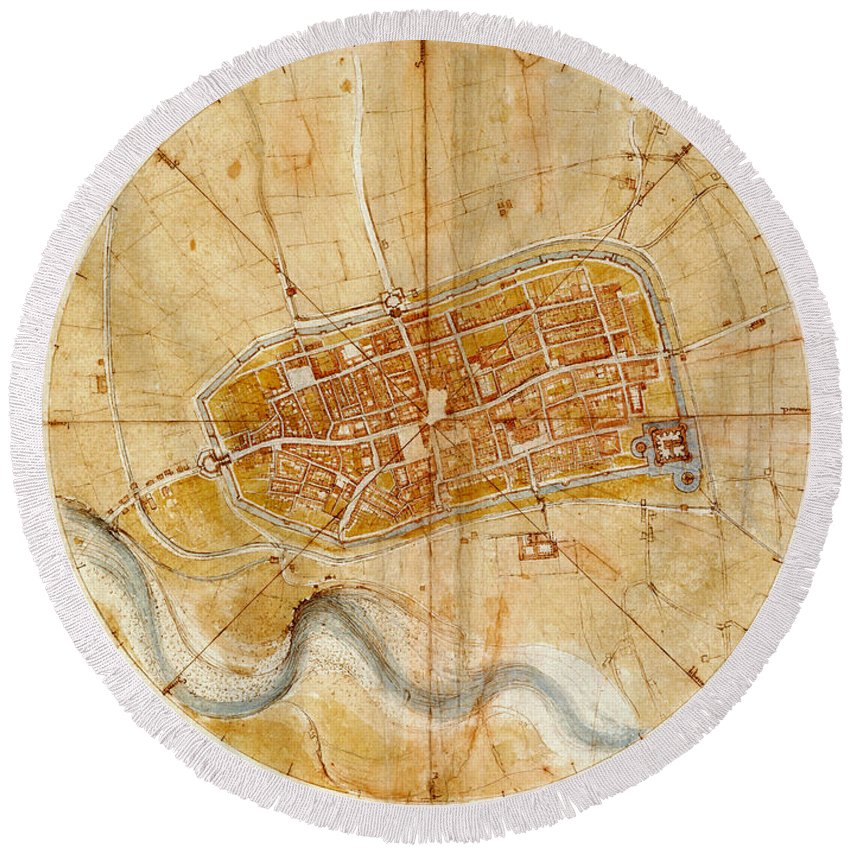 Map Of Imola Round Beach Towel featuring the photograph Map Of Imola 1502 by Andrew Fare