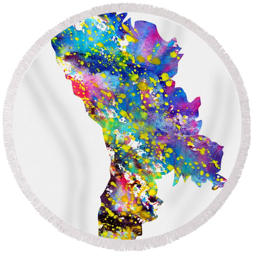Moldova Round Beach Towel featuring the digital art Map Of Moldova-colorful by Erzebet S