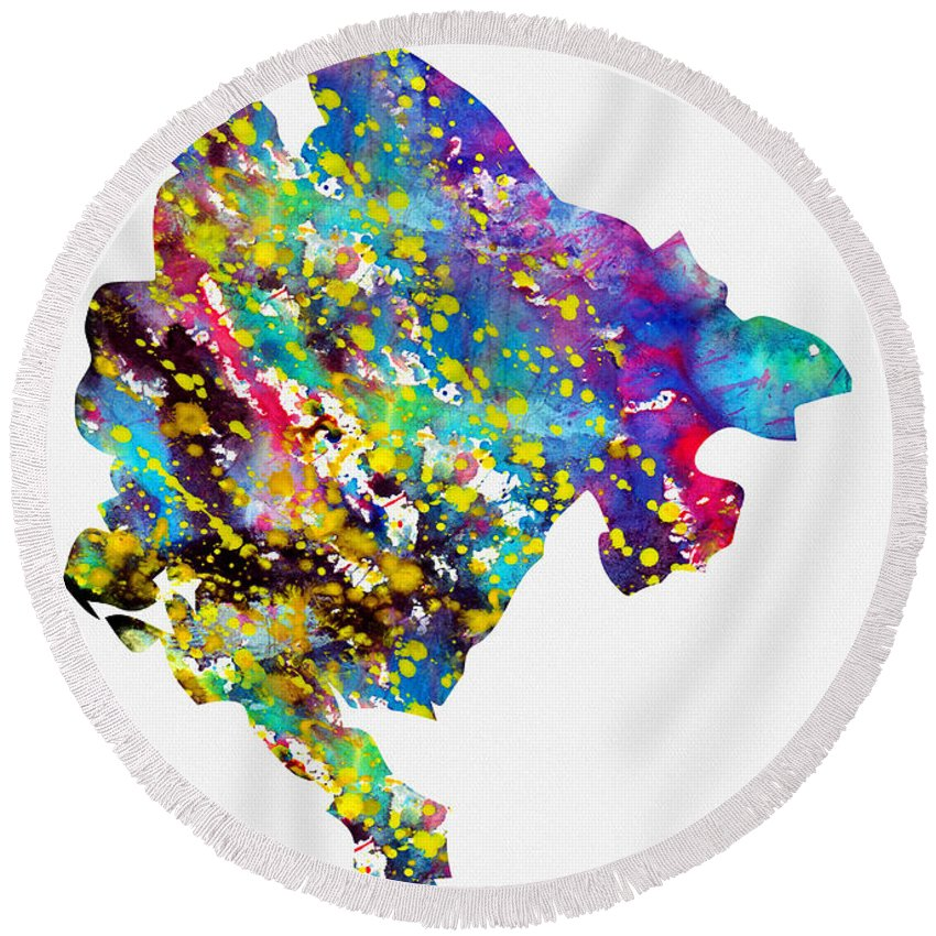 Montenegro Round Beach Towel featuring the digital art Map Of Montenegro-colorful by Erzebet S