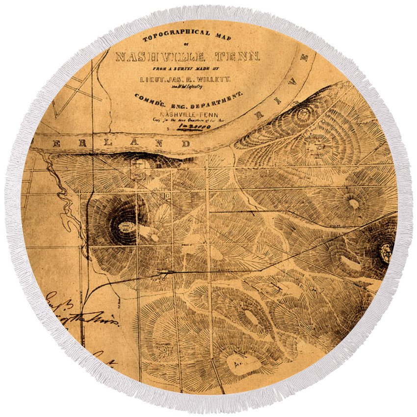 Map Of Nashville Round Beach Towel featuring the photograph Map Of Nashville 1860 by Andrew Fare