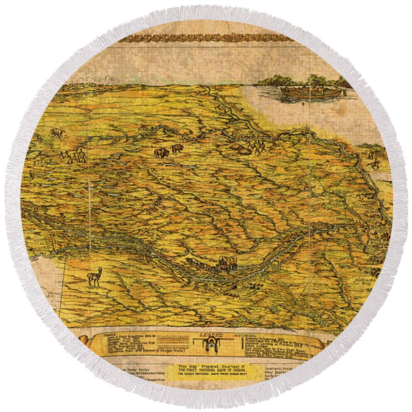 Map Of Nebraska Round Beach Towel featuring the mixed media Map Of Nebraska 1954 Omaha Cornhusker State Aerial View Illustration Cartography On Worn Canvas by Design Turnpike