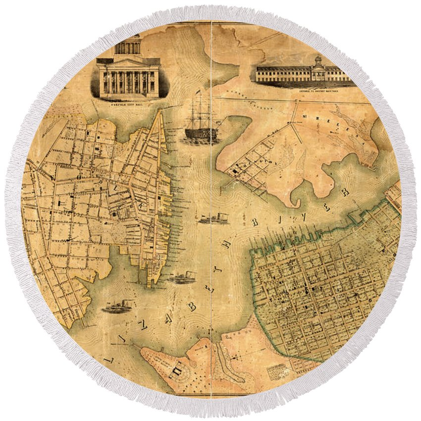 Norfolk Round Beach Towel featuring the photograph Map Of Norfolk 1851 by Andrew Fare