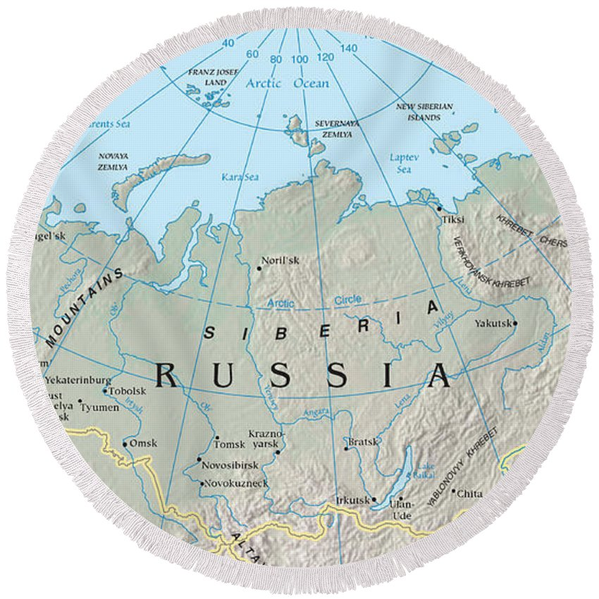 Map Of Siberia Round Beach Towel For Sale By Science Source