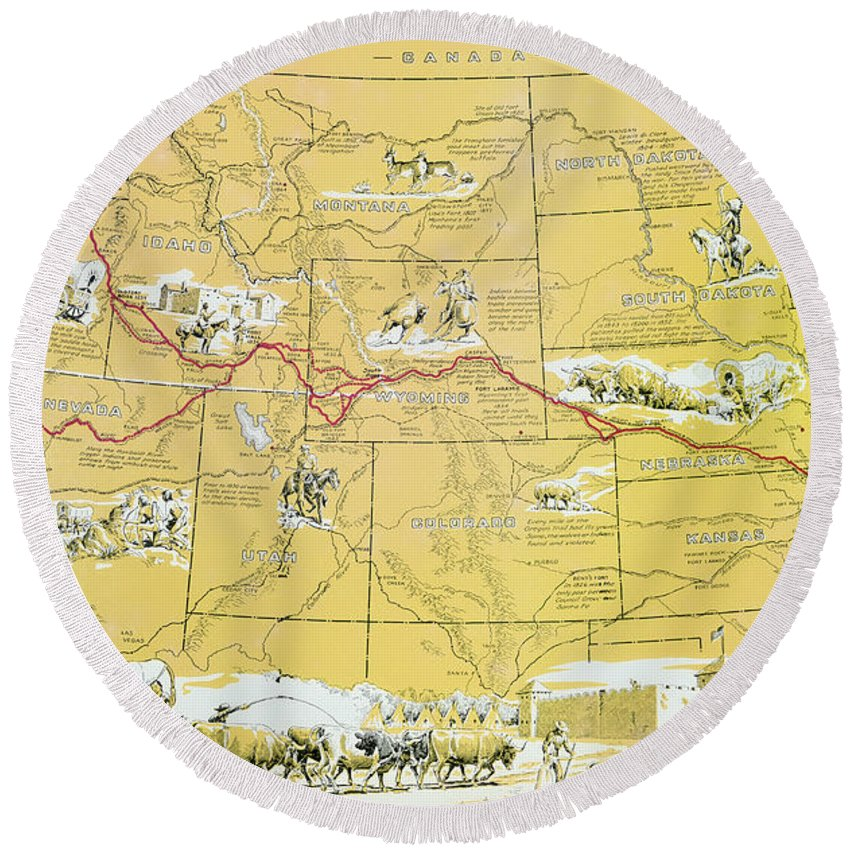 Plush Oregon Map.Map Of The Old Oregon Trail Round Beach Towel For Sale By American