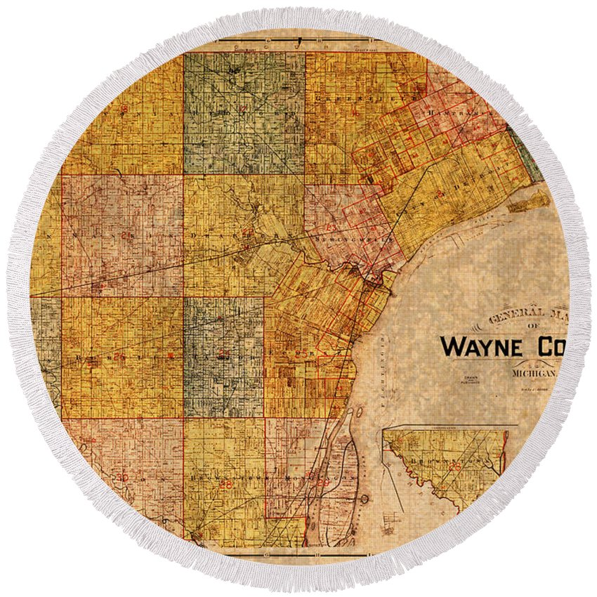 Map Round Beach Towel featuring the mixed media Map Of Wayne County Michigan Detroit Area Vintage Circa 1893 On Worn Distressed Canvas by Design Turnpike