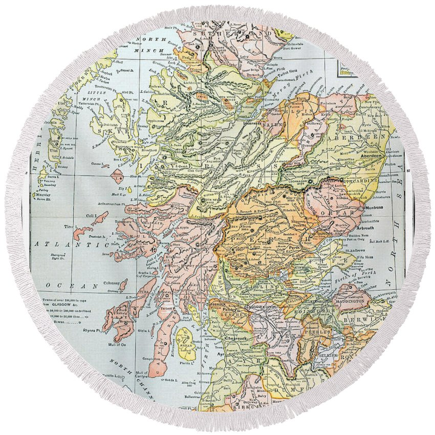 19th Century Round Beach Towel featuring the photograph Map: Scotland by Granger