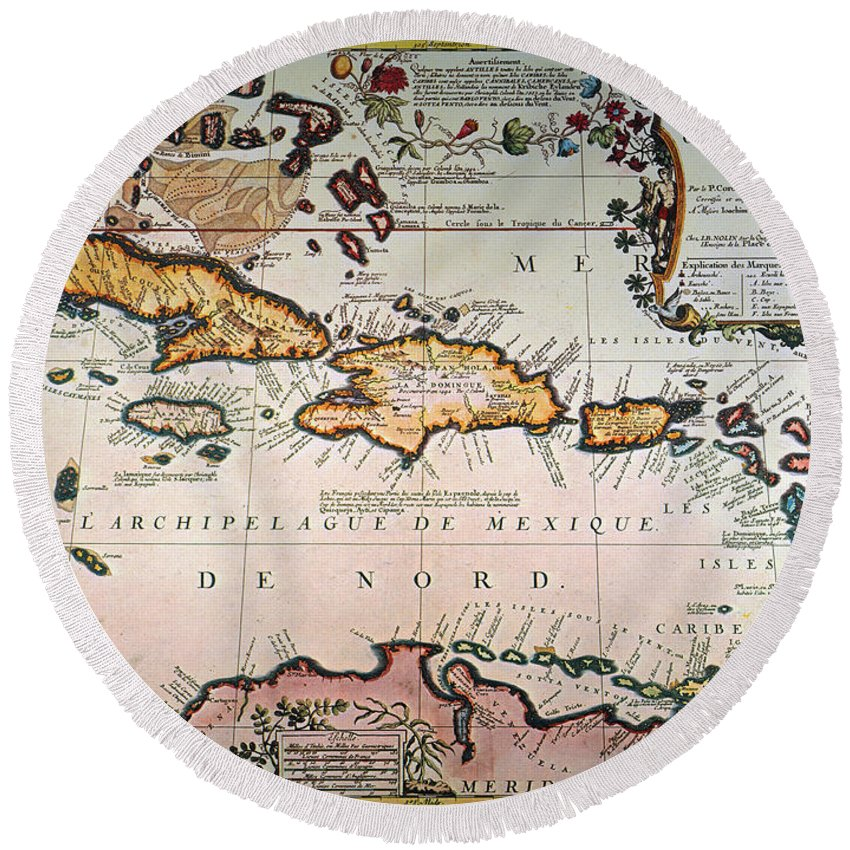 1688 Round Beach Towel featuring the photograph Map: West Indies by Granger