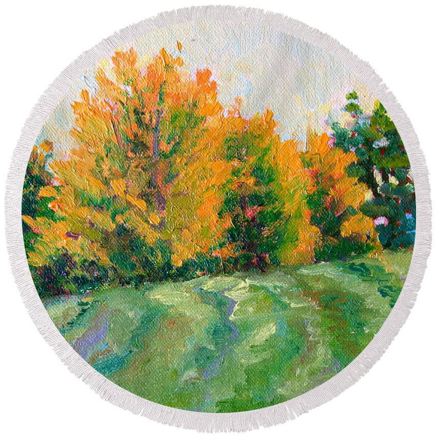 Impressionism Round Beach Towel featuring the painting Maple Grove by Keith Burgess