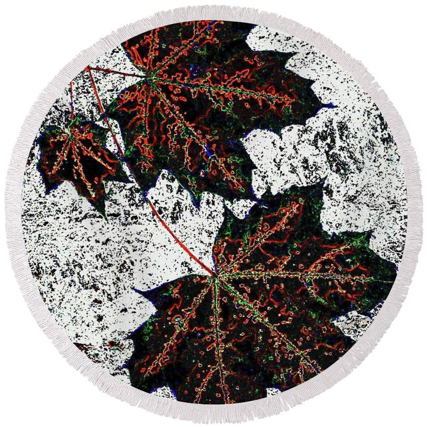 Cheerful Round Beach Towel featuring the digital art Maple Mania 17 by Will Borden