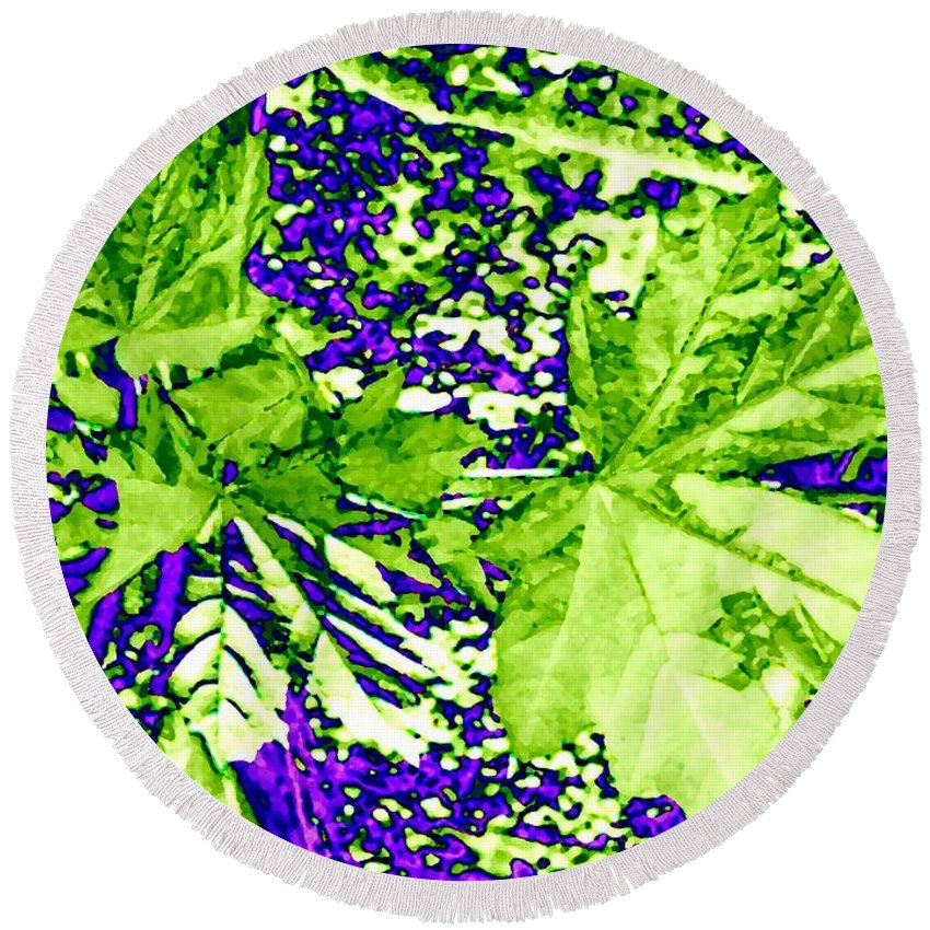 Maple Leaves Round Beach Towel featuring the digital art Maple Mania 19 by Will Borden