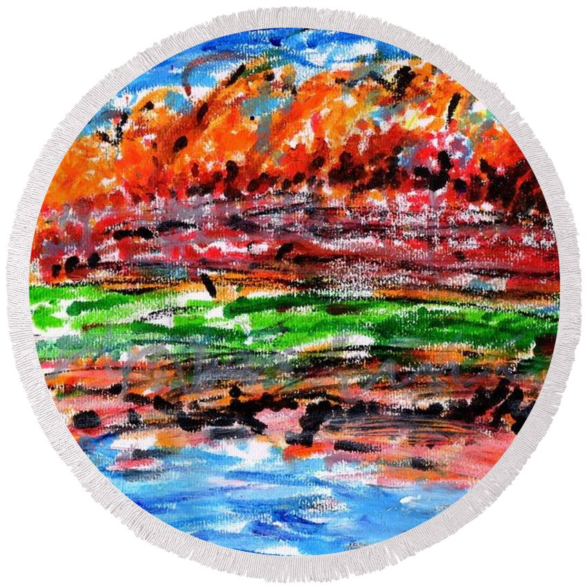Maple Round Beach Towel featuring the painting Maple Trees On The Lake by Hchl Colouful