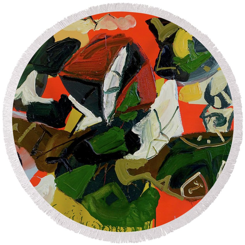 Abstract Round Beach Towel featuring the painting Marathon by Peregrine Roskilly