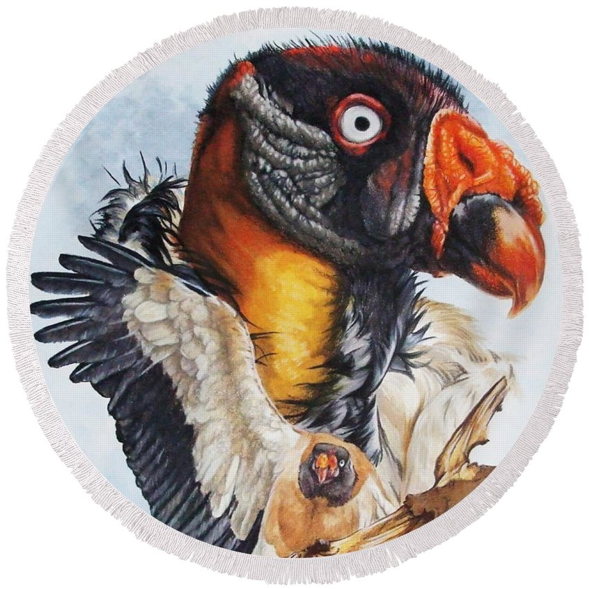 Vulture Round Beach Towel featuring the mixed media Marauder by Barbara Keith