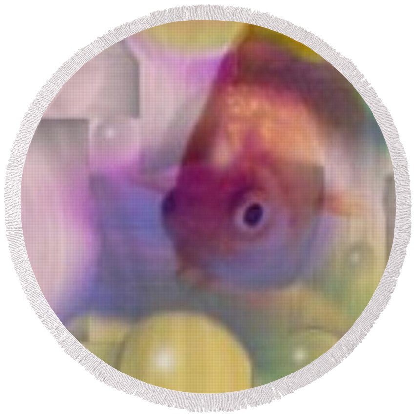Fish Round Beach Towel featuring the photograph Marble Fish by Tim Allen
