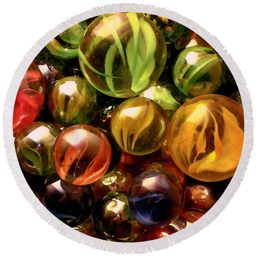 Marbles Abstract Round Beach Towel featuring the digital art Marble Madness by P Donovan