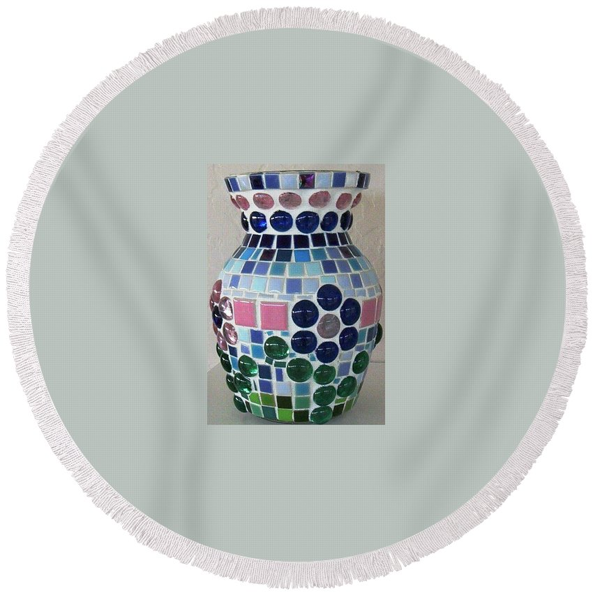 Glass Round Beach Towel featuring the glass art Marble Vase by Jamie Frier