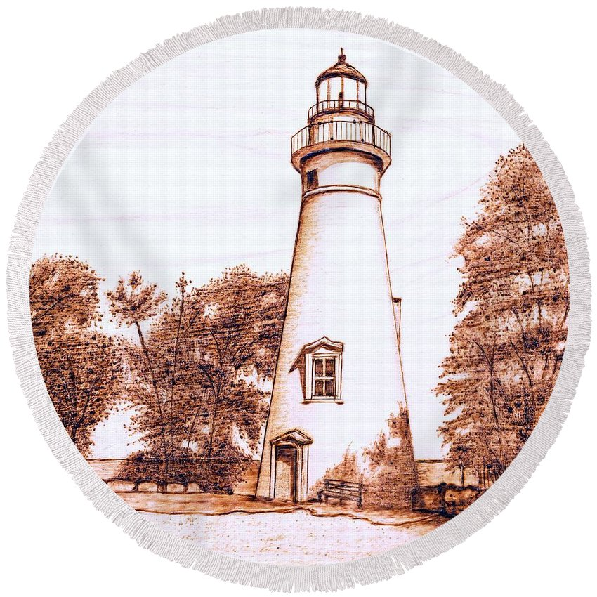 Lighthouse Round Beach Towel featuring the pyrography Marblehead Lighthouse by Danette Smith