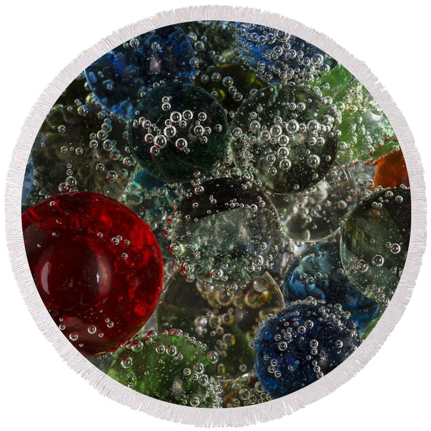 Marbles Round Beach Towel featuring the photograph Marbles Clear Soda 2 by John Brueske