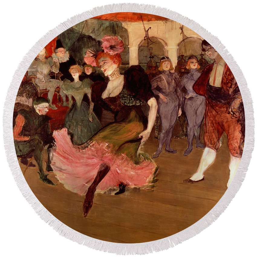 Lautrec Round Beach Towel featuring the painting Marcelle Lender Dancing The Bolero In Chilperic by Henri de Toulouse Lautrec