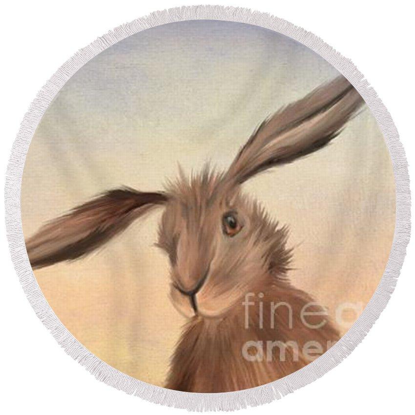 Rabbit Round Beach Towels