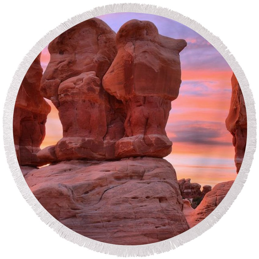 Devils Garden Round Beach Towel featuring the photograph Marching Men Sunset by Adam Jewell