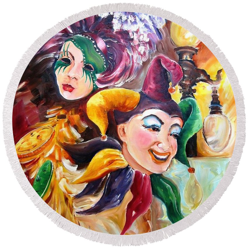 New Orleans Round Beach Towel featuring the painting Mardi Gras Images by Diane Millsap