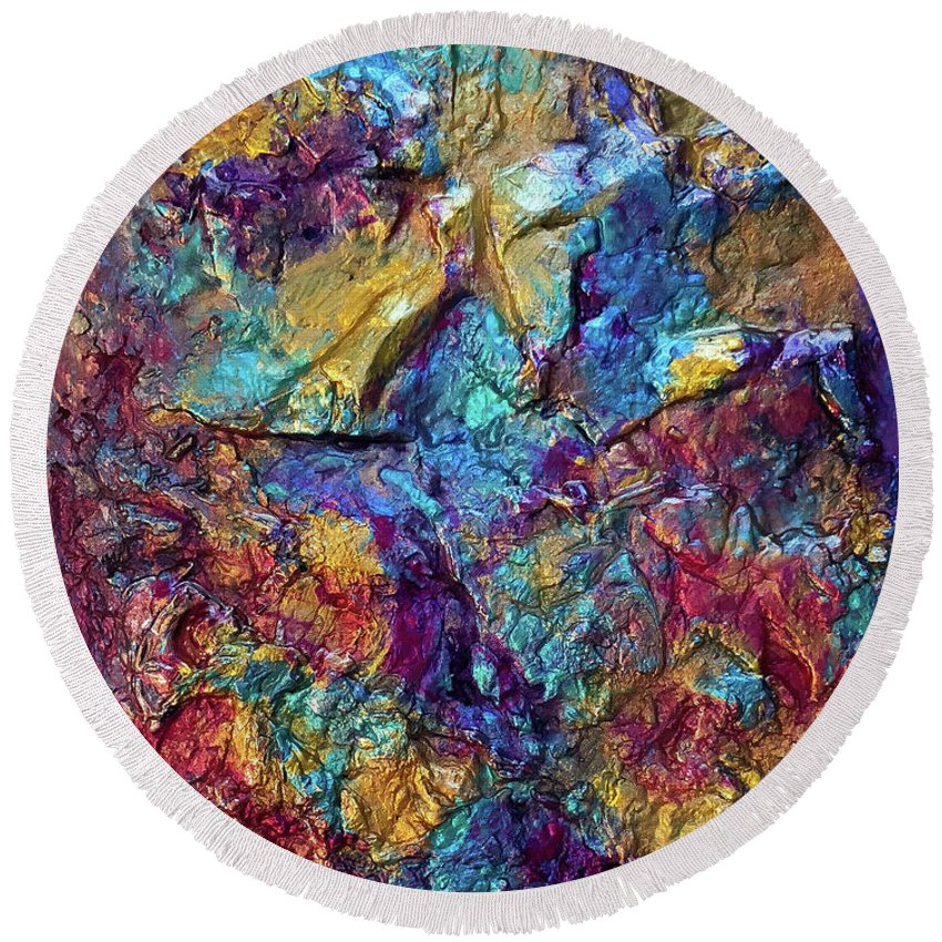 Abstract Round Beach Towel featuring the painting Mardi Gras by Loretta Kasper