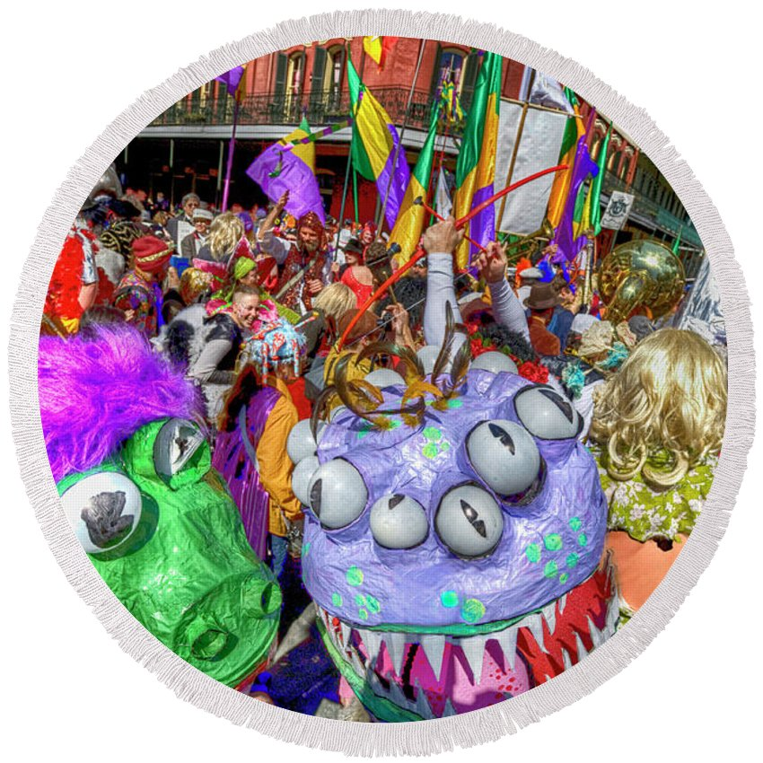 New Orleans Photography Round Beach Towel featuring the photograph Mardi Gras Mob by Alex Demyan
