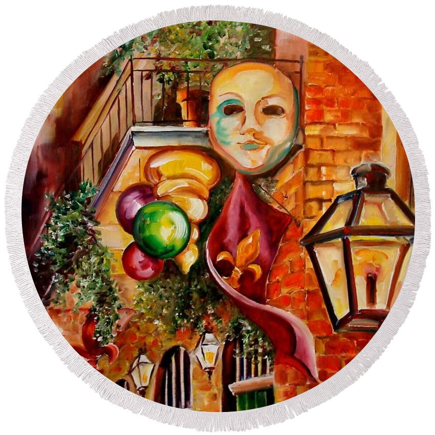 New Orleans Round Beach Towel featuring the painting Mardi Gras Night by Diane Millsap