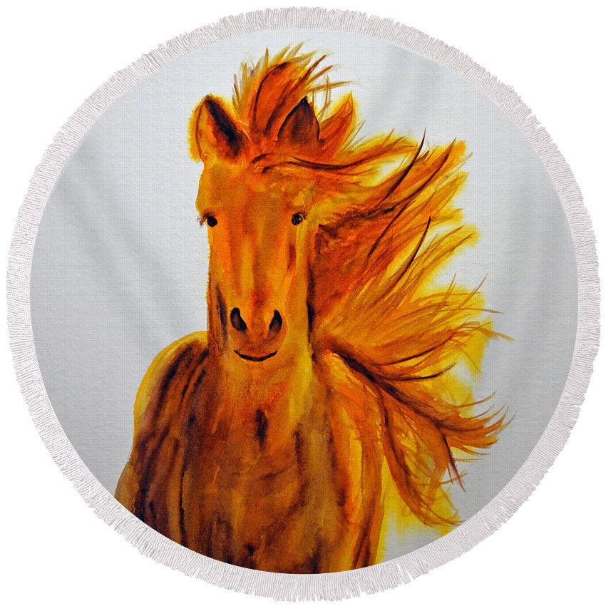 Horse Round Beach Towel featuring the painting Mare In Motion by Ken Figurski